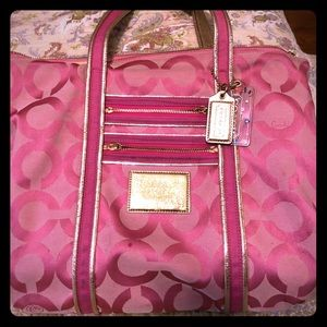Coach Poppy Tote in Pink Canvas